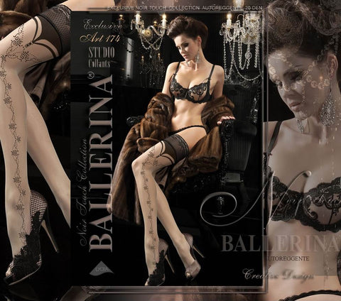 2072f98fc2c26 Ballerina Luxury Hold Ups Embroidered Detail Black Nude 174 | Angel Clothing