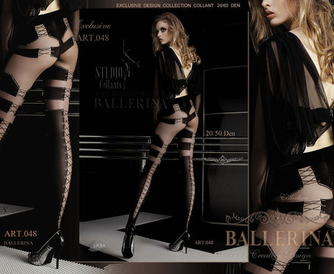 Ballerina Tights Nero Black Visone Corset Look - 048 - Angel Clothing
