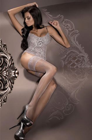 Ballerina Hold Up Stockings Fumo Smoke With Silver Filligree - 294 - Angel Clothing
