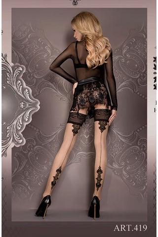 Ballerina Hold Ups Black Nude Patterned with Back Seam - 419 - Angel Clothing
