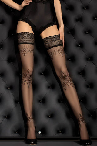 Ballerina 382 Hold Ups Stockings Black | Angel Clothing