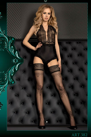 Ballerina Hold Ups Black with Floral Top - 382 - Angel Clothing