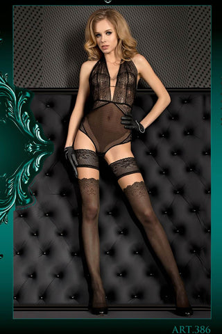 Ballerina Hold-Ups Black with Jacquard Pattern and Fleshtone Top - 386 - Angel Clothing