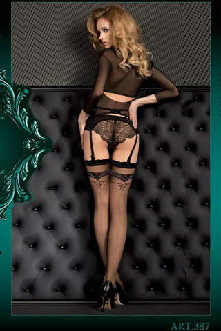 Ballerina Hold Ups Black with Silver Lurex Patterned Top  - 387 - Angel Clothing
