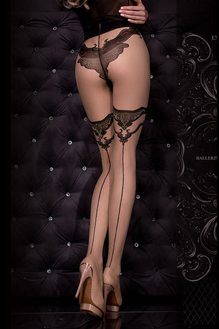 Hush Hush By Ballerina Tights Faux Panty Detail Black Gold 308 | Angel Clothing