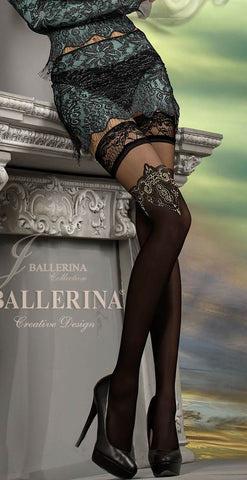 Ballerina Semi Opaque Hold Ups Embroidered Tops - 221 - Angel Clothing