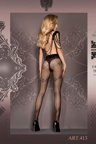 Ballerina Tights Black Patterned with Lurex Thread - 413 - Angel Clothing