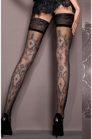 Ballerina Hold Ups Black with Blue and Grey Pattern - 416 - Angel Clothing