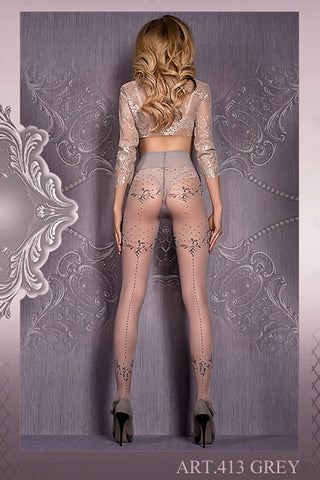 Ballerina Tights Grey Patterned with Lurex Thread - 413 | Angel Clothing