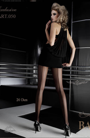Ballerina Tights Nero Black With Back Seam - 050 | Angel Clothing