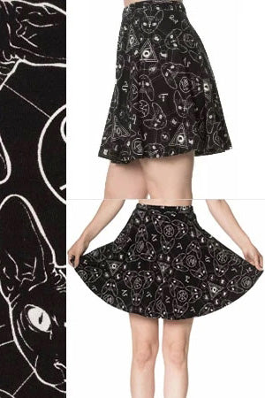 Banned 9 Lives Sphinx Skater Skirt | Angel Clothing