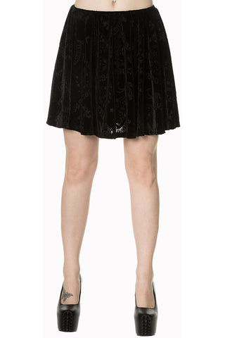 Banned 9 Lives Velvet Skater Skirt | Angel Clothing