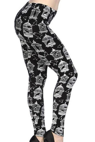 Banned Birdcage Leggings Black/White | Angel Clothing