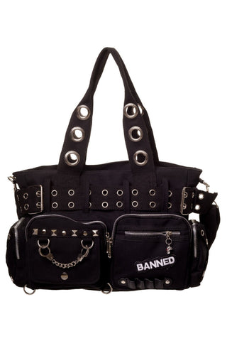 Banned - Black Bag with Handcuff and Eyelet Detail | Angel Clothing