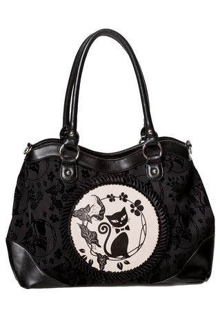 Banned Black Call of the Phoenix Bag, Gothic Cat Cameo Handbag - Angel Clothing