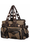 Banned Brown Striped Steampunk Shoulder Bag with Key Detail | Angel Clothing