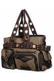 Banned Brown Striped Steampunk Shoulder Bag | Angel Clothing