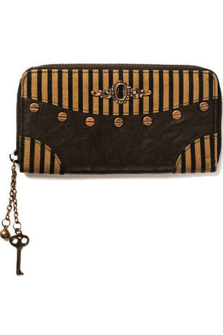Banned Brown Striped Steampunk Wallet with Keyhole Detail | Angel Clothing
