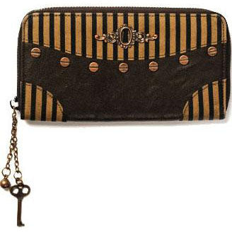Banned Brown Striped Steampunk Wallet | Angel Clothing