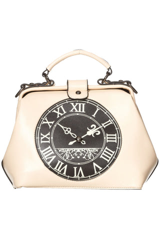 Banned Dara Bag, White Steampunk Clock Handbag | Angel Clothing