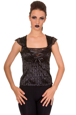 Banned Drop It Top, Satin and Velvet Flocked Gothic Top - Angel Clothing