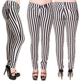 Banned Black and White Striped Skinny Jeans | Angel Clothing
