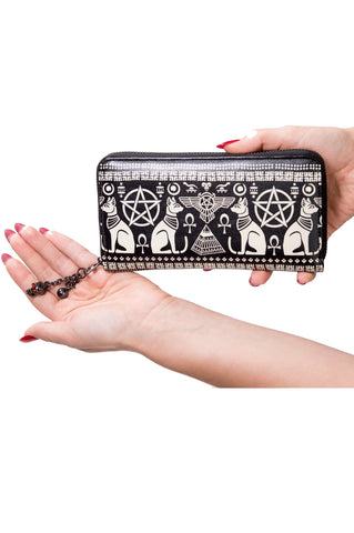Banned Goth Purse, Leather Look Anubis Wallet with Egyptian Symbols - Angel Clothing