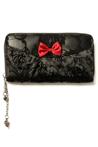 Banned Goth Purse, Vine Black Lace Gothic Wallet with Red Bow Detail - Angel Clothing
