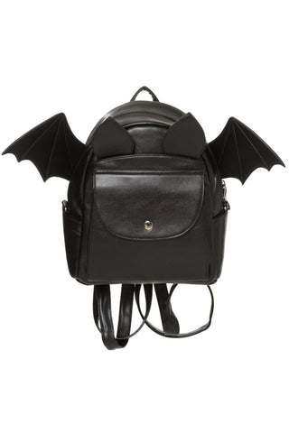 Banned Gothic Bat Rucksack, Waverley Backpack, Leather Look Bat Wing Shoulder Bag - Angel Clothing