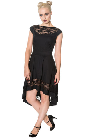 Banned Gothic Clothing, Hidden Valley Dress with Black Lace Panels - Angel Clothing