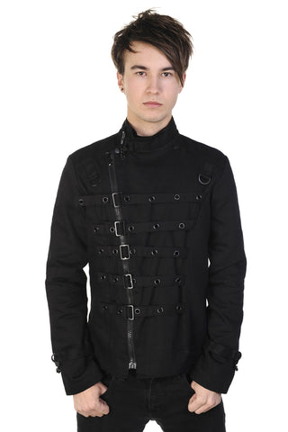Banned Gothic Clothing, Mens Metal Cuff Jacket, Gothic Jacket with Assymetric Strap Detail | Angel Clothing