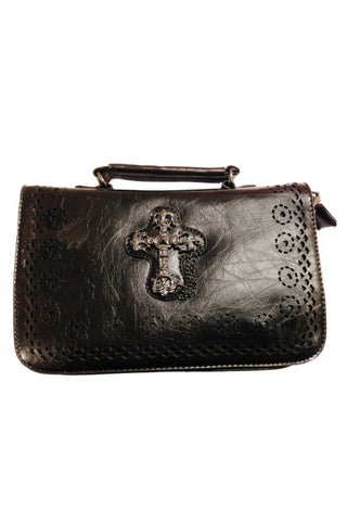 Banned Gothic Handbag,  Gothic Cross Handbag with Shoulder Strap | Angel Clothing