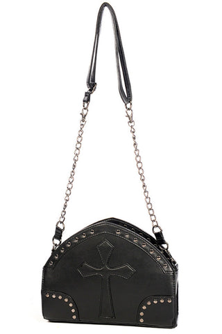 Banned Gothic Handbag with Arch Shape and Cross Detail | Angel Clothing
