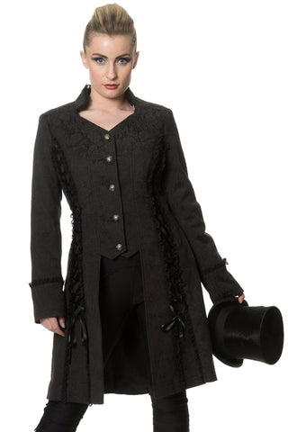 Banned Gothic Jacket, Steampunk Coat, Power Becomes Her Long Line Jacket - Angel Clothing