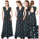 Banned Daring Doodle Cat Maxi Dress | Angel Clothing