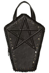 Banned Gothic Pentagram Coffin Bag, Ermira Bag, Faux Leather Coffin Backpack | Angel Clothing
