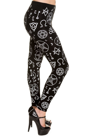 Banned Pentagram Leggings Black/White | Angel Clothing