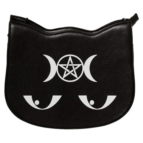 Banned Gothic Shoulder Bag, Jinx Bag, Gothic Moon Cat Handbag | Angel Clothing