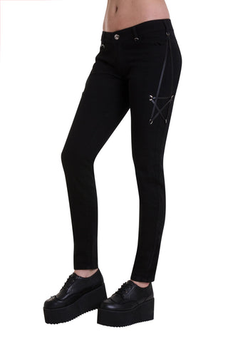 Banned Gothic Skinny Jeans, Pentagram Pants | Angel Clothing