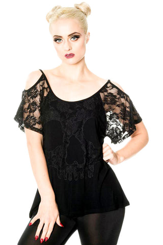 Banned Gothic Top, Aura Top Skull Lace design with Shoulder Cut-outs and Cut Out Back - Angel Clothing