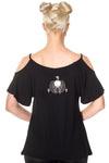 Banned Gothic Top, Talula Top with Siamese Cat Design with Shoulder Cut-outs | Angel Clothing