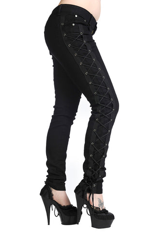 Banned Corset Style Black Skinny Jeans | Angel Clothing