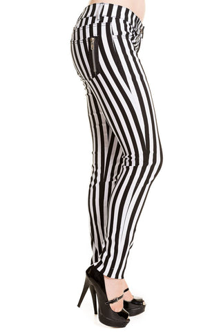 Banned Gothic Trousers, Ladies Black and White Striped Skinny Jeans - Angel Clothing