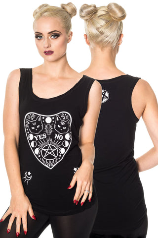Banned Gothic Vest Top, Jagger Top with Ouija Board Cat Design - Angel Clothing