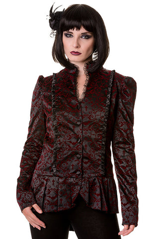 Banned Gothic Vine Pattern Crosses Bats Short Jacket | Angel Clothing