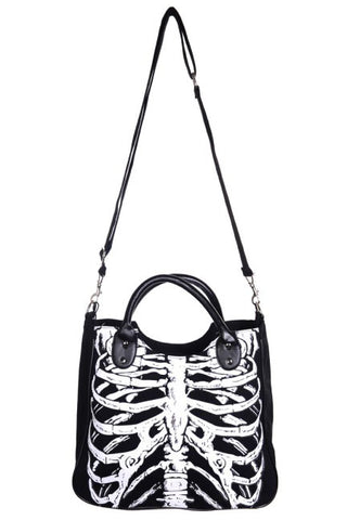 Banned - Hand /Shoulder Bag with Glow in the Dark Ribcage Design | Angel Clothing