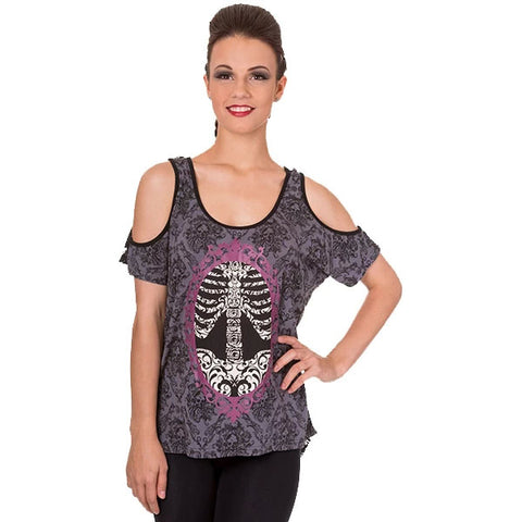 Banned In The Silence Skull Cameo Top | Angel Clothing