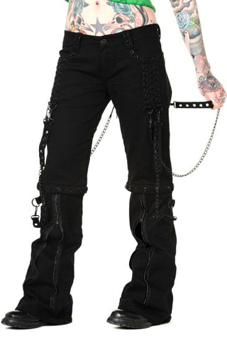 Banned - Ladies Zip off Bondage Trousers/Shorts w/ Black Chains - Angel Clothing