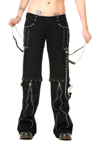 Banned - Ladies Zip off Bondage Trousers/Shorts w/ Silver Chains - Angel Clothing