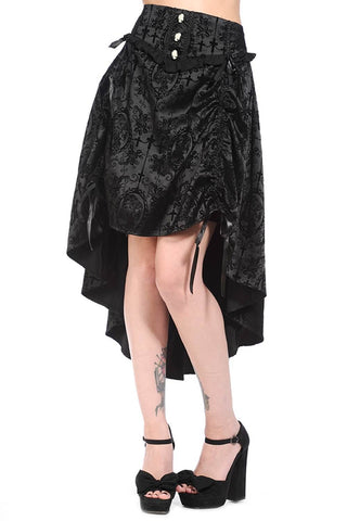Banned Long Black Gothic Skirt with Velvet Flock Pattern | Angel Clothing